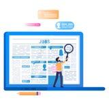 Σε απευθείας σύνδεση αναζήτηση εργασίας Lap-top με την εφημερίδα στην οθόνη διανυσματική απεικόνιση
