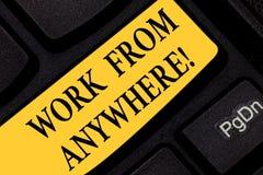 Σημάδι κειμένων που παρουσιάζει εργασία από οπουδήποτε Εννοιολογική φωτογραφία μόνη - υιοθετημένος και μισθωμένος στην εργασία γι στοκ φωτογραφίες με δικαίωμα ελεύθερης χρήσης