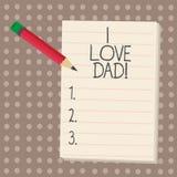 Σημάδι κειμένων που παρουσιάζει μπαμπά αγάπης Ι Εννοιολογικά καλά συναισθήματα φωτογραφιών για την ευτυχία αγάπης αγάπης πατέρων  διανυσματική απεικόνιση