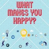 Σημάδι κειμένων που παρουσιάζει τι σας κάνει Happyquestion Η εννοιολογική ευτυχία φωτογραφιών έρχεται με την αγάπη και τη θετική  απεικόνιση αποθεμάτων
