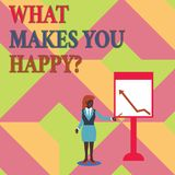 Σημάδι κειμένων που παρουσιάζει τι σας κάνει Happyquestion Η εννοιολογική ευτυχία φωτογραφιών έρχεται με την αγάπη και τη θετική  διανυσματική απεικόνιση