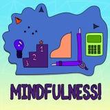 Σημάδι κειμένων που παρουσιάζει Mindfulness Η εννοιολογική φωτογραφία που είναι συνειδητή ηρεμία συνειδητοποίησης δέχεται τις σκέ διανυσματική απεικόνιση