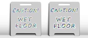 """Σημάδι δύο με το """"υγρό πάτωμα προσοχής """"επιγραφής διανυσματική απεικόνιση"""