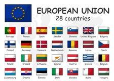 Σημαία της Ευρωπαϊκής Ένωσης και ιδιότητας μέλους Ένωση 28 χωρών Σύγχρονο απλό σχέδιο περιλήψεων κινούμενων σχεδίων και doodle πα διανυσματική απεικόνιση