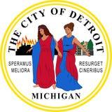 Σημαία του Ντιτρόιτ στο Μίτσιγκαν, ΗΠΑ απεικόνιση αποθεμάτων