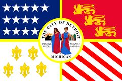 Σημαία του Ντιτρόιτ στο Μίτσιγκαν, ΗΠΑ ελεύθερη απεικόνιση δικαιώματος