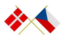 Σημαίες, Δανία και τσέχικα απεικόνιση αποθεμάτων