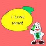 Σημείωση γραψίματος που παρουσιάζει αγάπη Mom Ι Επιχειρησιακή φωτογραφία που επιδεικνύει τα καλά συναισθήματα για την ευτυχία αγά απεικόνιση αποθεμάτων