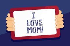 Σημείωση γραψίματος που παρουσιάζει αγάπη Mom Ι Επιχειρησιακή φωτογραφία που επιδεικνύει τα καλά συναισθήματα για την ευτυχία αγά διανυσματική απεικόνιση
