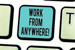 Σημείωση γραψίματος που παρουσιάζει εργασία από οπουδήποτε Επίδειξη επιχειρησιακών φωτογραφιών μόνη - υιοθετημένος και μισθωμένος στοκ φωτογραφίες