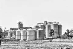 Σιλό σιταριού σε Vredefort στην ελεύθερη κρατική επαρχία μονοχρωματικός στοκ φωτογραφίες