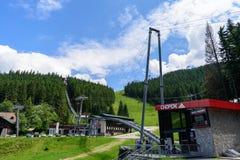 Σιδηρόδρομος στα βουνά με το δάσος στοκ εικόνες με δικαίωμα ελεύθερης χρήσης