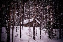 Σιταποθήκη, που χτίζεται σε ένα χειμερινό δάσος σε μια χιονοθύελλα στοκ φωτογραφία