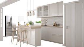 Σκανδιναβική άσπρη κουζίνα με το νησί και τα εξαρτήματα, εσωτερική ιδέα έννοιας σχεδίου, που απομονώνεται στο άσπρο υπόβαθρο με τ απεικόνιση αποθεμάτων