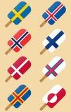 Σκανδιναβικό, Σκανδιναβικό παγωτό σημαιών χωρών ελεύθερη απεικόνιση δικαιώματος