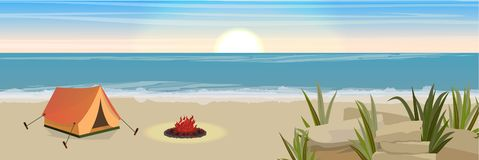 Σκηνή και πυρκαγιά τουριστών Αμμώδης ακτή με τους βράχους και τα αλσύλλια της χλόης διανυσματική απεικόνιση