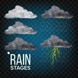 Σκηνικό διάνυσμα βροχής Σύννεφο, θύελλα Το διάνυσμα ξεπερνά τα εικονίδια Ρεαλιστική απομονωμένη διαφανής απεικόνιση απεικόνιση αποθεμάτων