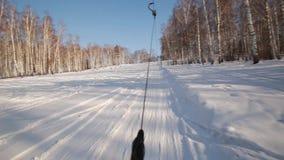 Σκιέρ τραβήγματος ανελκυστήρων τ-φραγμών στην κορυφή της κλίσης ανελκυστήρας για τους σκιέρ και τα snowboarders Χειμερινός αθλητι φιλμ μικρού μήκους