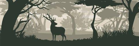 σκιαγραφία Άγριος τάρανδος ελαφιών στο πυκνό αποβαλλόμενο δάσος διανυσματική απεικόνιση