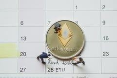 Σκληρό δίκρανο Ethereum ETH στοκ φωτογραφίες