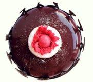 Σκούρο κόκκινο floral κέικ με τη τοπ άποψη συνόρων λούστρου και σοκολάτας καθρεφτών στοκ φωτογραφίες με δικαίωμα ελεύθερης χρήσης