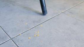 Σκουπίζοντας το πάτωμα κουζινών με το γκρίζο κεραμίδι χωρίς βούρτσα, μόνο σωλήνας της ηλεκτρικής σκούπας με ηλεκτρική σκούπα στεν απόθεμα βίντεο
