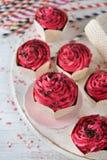 Σοκολάτα Cupcakes με τη ρόδινη τήξη στοκ φωτογραφία με δικαίωμα ελεύθερης χρήσης
