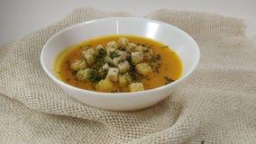 Σούπα και άνηθος κολοκύθας που περιέρχονται στο άσπρο πιάτο απόθεμα βίντεο