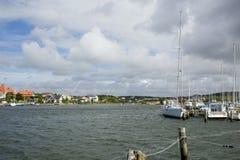 Σουηδία, Γκέτεμπουργκ, ναυτικό και η ακτή με τα σπίτια στοκ φωτογραφίες με δικαίωμα ελεύθερης χρήσης