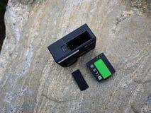 Σύγχρονη κάμερα Aktion που τοποθετείται σε ένα ποδήλατο στοκ φωτογραφία με δικαίωμα ελεύθερης χρήσης