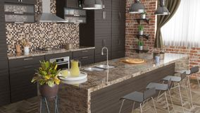 Σύγχρονη κουζίνα με τη βιομηχανική τρισδιάστατη απεικόνιση λαμπτήρων και καρεκλών φραγμών διανυσματική απεικόνιση