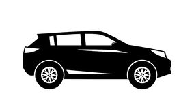 Σύγχρονη SUV κίνηση πλάγιας όψης σκιαγραφιών που απομονώνεται ελεύθερη απεικόνιση δικαιώματος