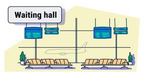 Σύγχρονος τελικός κενός σαλονιών αναχώρησης αιθουσών αναμονής αερολιμένων εσωτερικός κανένας άνθρωπος σκιαγραφεί doodle οριζόντιο απεικόνιση αποθεμάτων