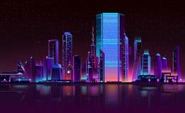 Σύγχρονο διάνυσμα κινούμενων σχεδίων νέου οριζόντων νύχτας πόλεων ελεύθερη απεικόνιση δικαιώματος