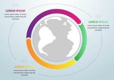Σύγχρονο σφαιρικό πρότυπο infographics για 3 επιλογές διάνυσμα Μπορέστε να χρησιμοποιηθείτε για το σχεδιάγραμμα ροής της δουλειάς ελεύθερη απεικόνιση δικαιώματος