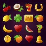 Σύμβολα μηχανημάτων τυχερών παιχνιδιών με κέρματα, παιχνίδι και σύνολο παιχνιδιού ελεύθερη απεικόνιση δικαιώματος