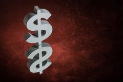 Σύμβολο ή σημάδι αμερικανικού νομίσματος με την αντανάκλαση καθρεφτών στο κόκκινο σκονισμένο υπόβαθρο διανυσματική απεικόνιση
