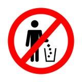 Σύμβολο απορριμάτων ρυπαίνει όχι το σημάδι Εικονίδιο απορριμμάτων Επίπεδη διανυσματική απεικόνιση απεικόνιση αποθεμάτων
