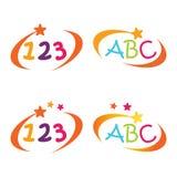 Σύμβολο εκπαίδευσης αλφάβητου και αριθμού επιστολών παιδιών και παιδικών σταθμών ελεύθερη απεικόνιση δικαιώματος