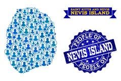 Σύνθεση ανθρώπων του χάρτη μωσαϊκών του νησιού Nevis και της κατασκευασμένης σφραγίδας ελεύθερη απεικόνιση δικαιώματος