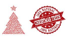Σύνθεση καρδιών βαλεντίνων του εικονιδίου χριστουγεννιάτικων δέντρων και του υδατοσήμου Grunge απεικόνιση αποθεμάτων