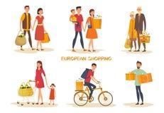 Σύνολο απομονωμένων ανθρώπων στις αγορές υπεραγορών στοκ φωτογραφίες