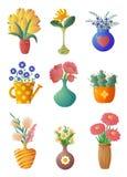 Σύνολο εγκαταστάσεων και λουλουδιών σπιτιών στα δοχεία και τα βάζα διανυσματική απεικόνιση