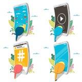 Σύνολο εικονιδίων εθισμού Smartphone, απομονωμένη διάνυσμα απεικόνιση διανυσματική απεικόνιση