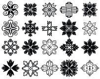 Σύνολο εικονιδίων λουλουδιών στη σκιαγραφία απεικόνιση αποθεμάτων