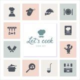 Σύνολο εικονιδίων στο θέμα κουζινών, τα εργαλεία κουζινών, τα λογότυπα, και την εγγραφή διανυσματική απεικόνιση