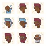 Σύνολο εικονογραμμάτων με ένα πρόσωπο αφροαμερικάνων των διαφορετικών ηλικιών Από το αγοράκι στην ενήλικη διανυσματική έννοια ατό στοκ φωτογραφία