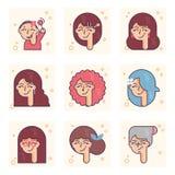 Σύνολο εικονογραμμάτων με ένα πρόσωπο των διαφορετικών ηλικιών Από το κοριτσάκι στην ενήλικη διανυσματική έννοια γυναικών στοκ φωτογραφία με δικαίωμα ελεύθερης χρήσης