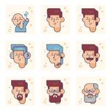 Σύνολο εικονογραμμάτων με ένα πρόσωπο των διαφορετικών ηλικιών Από το αγοράκι στην ενήλικη διανυσματική έννοια ατόμων στοκ εικόνες