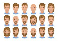 Σύνολο ειδώλων των ατόμων με τα διάφορα hairstyles: μακριά ή κοντή τρίχα, φαλακρή, με τη γενειάδα ή χωρίς διανυσματική απεικόνιση